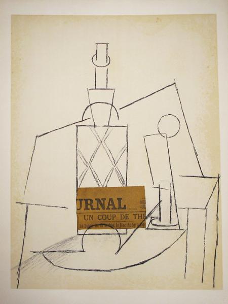 Bouteille de Rhum Paillee, Verre et Le Journal