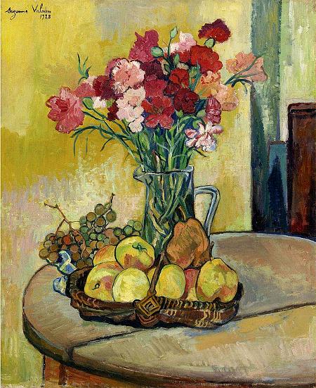 Nature Morte au Panier de Pommes, Vase de Fleurs, et Raisins, 1928