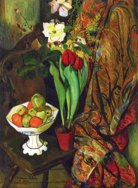 Nature morte aux tulipes et compotier de fruits, 1924