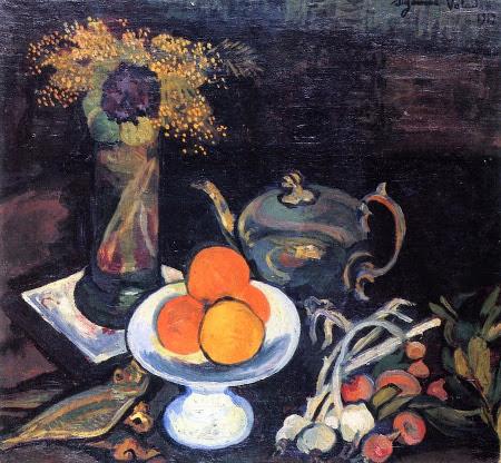Nature morte avec bol de fruits, fleurs et oignons, 1919