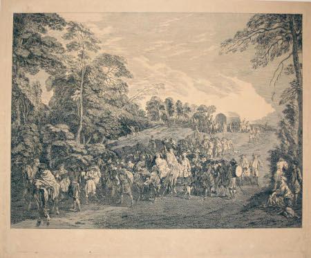 Retour de campagne (gravure apres Watteau)