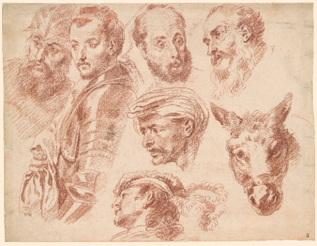 Studies of Heads, and a Donkey