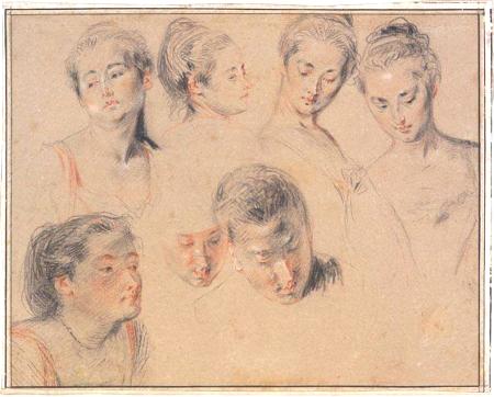 Études de sept têtes, c. 1717