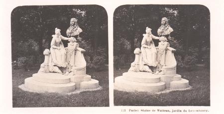 Watteau statue, stereoscopic