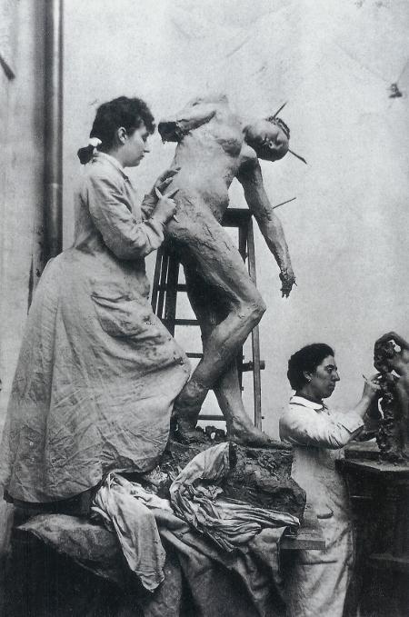 William Elborne, Camille Claudel et Jessie Lipscomb dans leur atelier du N° 117 de la rue Notre-Dame-des-Champs, 1887