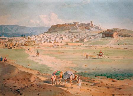 Ludwig Lange, Athen und die Akropolis von Nordwesten, 1836