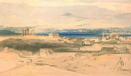 Ludwig Lange, Korinth mit dem Apollontempel, 1834-35
